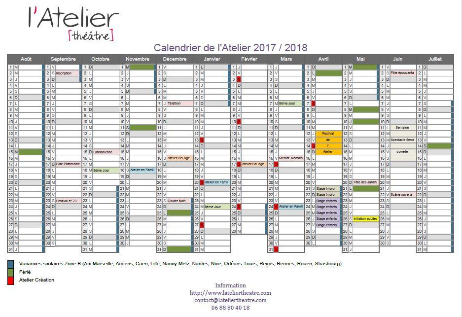 Calendrier 2017 / 2018