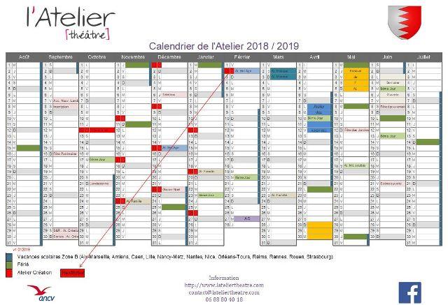 Calendrier 2018 - 2019