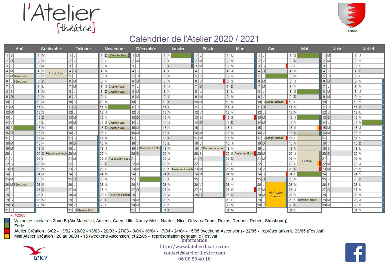 Calendrier Atelier 2020 - 2021